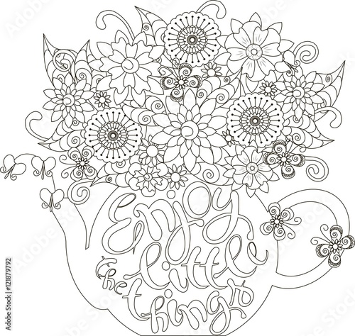 Lettering Enjoy little things Bouquet in a teapot coloring page