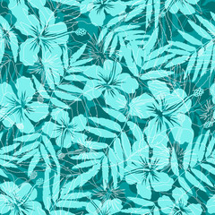 Blue tropical flowers silhouettes vector seamless pattern