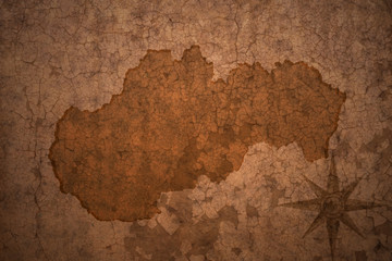 slovakia map on vintage crack paper background