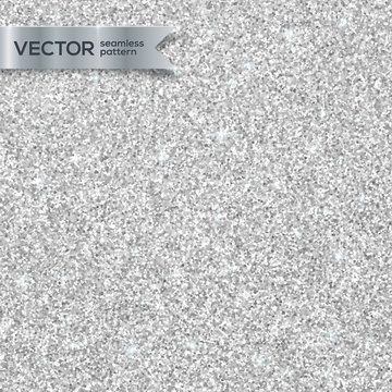 Shining silver glitter texture vector seamless pattern