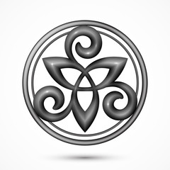 Vector stone or metallic celtic triskel symbol