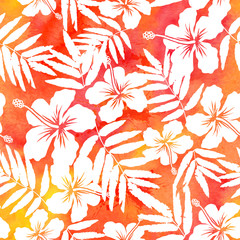Red watercolor vector hibiscus summer seamless pattern