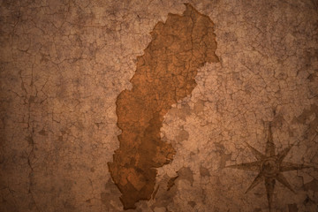 sweden map on vintage crack paper background