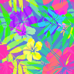 Vivid colors bright tropical flowers vector seamless pattern tile