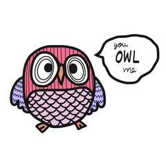 Pink owl on white background cartoon illustration