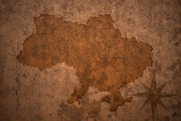 ukraine map on vintage crack paper background