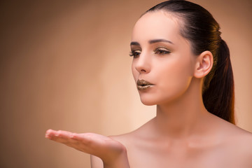 Woman with nice  make-up in beauty concept