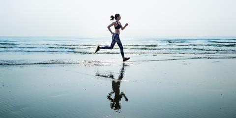 Run Sea Sand Sport Sprint Relax Exercise Beach Concept Wall mural