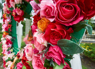 Colorful faked roses for decoration.