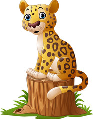 Cartoon leopard sitting on tree stump