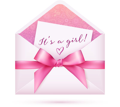 Pink baby girl shower vector envelop with bow