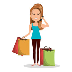cartoon woman many bag gift shop graphic vector illustration eps 10