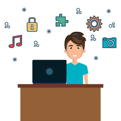 character man on desk and laptop with icon media graphic vector illustration eps 10