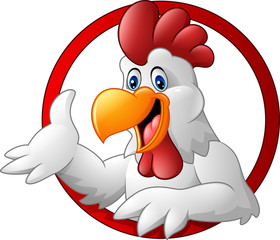 Cartoon rooster mascot presenting