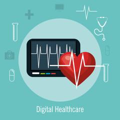 digital healthcare cardio heart rate vector illustration