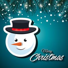 card christmas snowman face snowfall vector illustration eps 10