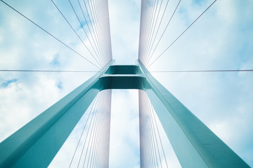 Photo sur Aluminium Pont cable-stayed bridge closeup