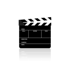 Movie clapper board isolated vector illustration