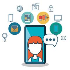 avatar female samrt phone media social vector illustration