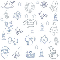 Collection christmas doodles with hand draw