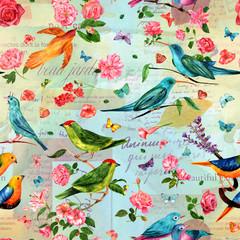 Vintage seamless pattern, birds and flowers on old ephemera