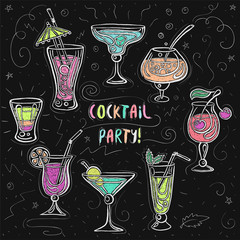 Hand drawn sketchy cocktail set. Vector illustration