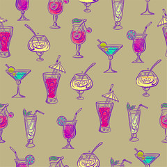 Hand drawn sketchy cocktail seamless pattern. Vector illustration