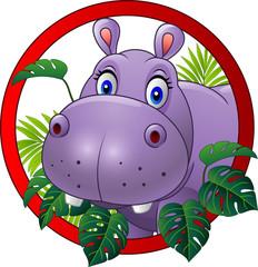 Cartoon hippo mascot