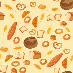 Bakery seamless pattern cartoon vector