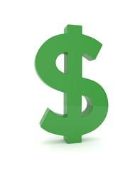 Isolated green dollar sign on white background. American currency. Money green economy symbol. 3D rendering.
