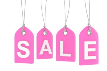 Pink isolated sale labels on white background. Price tags. Special offer and promotion. Store discount. Shopping time. 3D rendering.