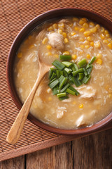 Chinese thick corn soup with chicken close up. vertical top view