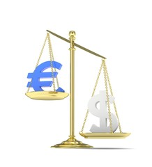Isolated old fashioned pan scale with dollar and euro on white background. American and european currency. Dollar is heavier. Silver usd, blue euro. 3D rendering.