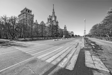 Black and white view of Moscow State University main building with zebra