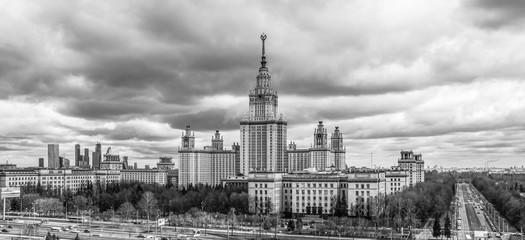 Black and white envelope size view of cloudy Moscow university