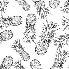 Pineapple vector seamless pattern