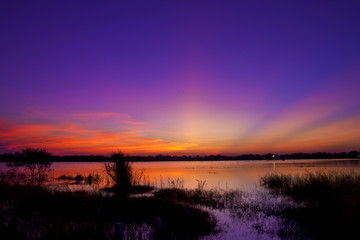 Twilight sky after sunset with water reflect landscape