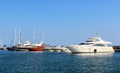 Yachts and ships in the port of Saint Vlas (Sveti Vlas). Bulgaria