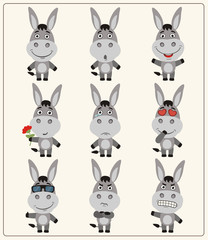Vector set isolated emotion donkey. Collection cute donkey in cartoon style.
