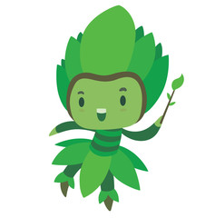 Vector cartoon image of a cute fairy of summer in green dress and green leafy hat with a magic wand in the form of a branch with green leaves in hand, flying and smiling on a white background. Seasons