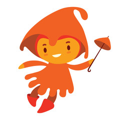 Vector cartoon image of a cute fairy of autumn in an orange dress and orange hood with a magic wand in the form of an small umbrella in her hand, flying and smiling on a white background. Seasons.