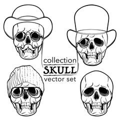 Hipster style skull set isolated on white BG