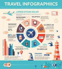 Travel Infographics - poster, brochure cover template