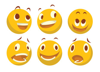 Vector cartoon image of a set of different yellow emoticons expressing different feelings on a white background. Smiley face icons. Emoji. Vector illustration.