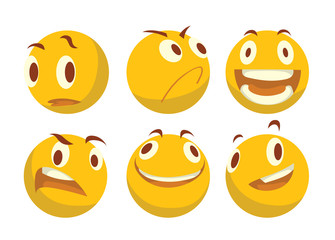 Vector cartoon image of a set of various yellow emoticons expressing different feelings on a white background. Smiley face icons. Emoji. Vector illustration.