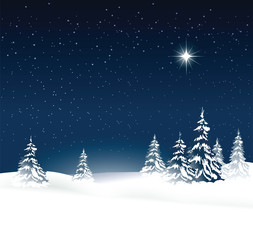 Christmas background with snow-covered trees