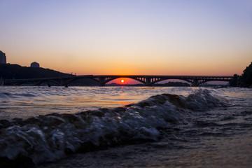 Metro Bridge in Kiev at sunset