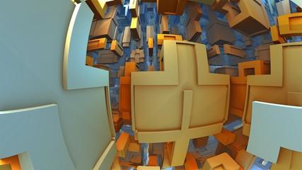 3D fantasy background from strange shapes, 3D illustration