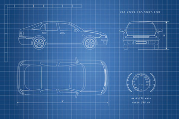 The design of the car drawing on a blue background. Three types:
