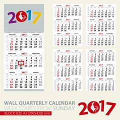 Calendar for 2017 year. Print template of wall quarterly calendar.